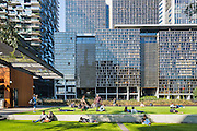 General Views showing Chippendale Green which is built around One Central Park. The bulding itself was designed by award-winning Parisian architect Jean Nouvel and the vertical gardens designed by the artist and botanist Patrick Blanc.,Chippendale, Sydney, Australia.