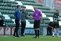 Referee Kevin Johnson has words with Plymouth Argyle manager Ryan Lowe during the game<br /> <br /> Photographer Ian Cook/CameraSport<br /> <br /> The EFL Sky Bet League One - Plymouth Argyle v Blackpool - Saturday September 12th 2020 - Home Park - Plymouth<br /> <br /> World Copyright © 2020 CameraSport. All rights reserved. 43 Linden Ave. Countesthorpe. Leicester. England. LE8 5PG - Tel: +44 (0) 116 277 4147 - admin@camerasport.com - www.camerasport.com