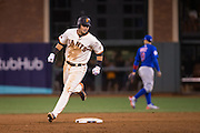 San Francisco Giants second baseman Joe Panik (12) rounds second base on a walk off double to bring in shortstop Brandon Crawford (35) in the 13th inning against the Chicago Cubs during Game 3 of the NLDS at AT&T Park in San Francisco, Calif., on October 10, 2016. The San Francisco Giants beat the Chicago Cubs 6-5. (Stan Olszewski/Special to S.F. Examiner)