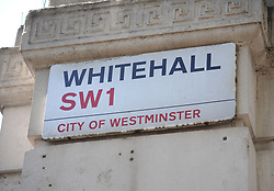 """File photo dated 13/05/15 of a sign for Whitehall in London. Labour is promising to end the requirement for academic qualifications such as degrees or A-levels for jobs in the Civil Service unless they are """"genuinely relevant"""" to the role."""