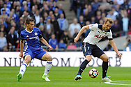Tottenham's Harry Kane (r) holds the ball up from Chelsea's Cesar Azpilicueta. The Emirates FA Cup semi-final match, Chelsea v Tottenham Hotspur at Wembley Stadium in London on Saturday 22nd April 2017.<br /> pic by Carl Robertson,  Andrew Orchard sports photography.