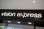 Sign for the opticians brand Vision Express in Birmingham, United Kingdom.