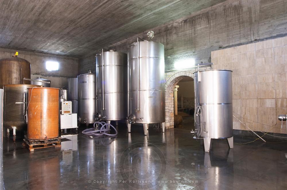 Stainless steel and epoxy fermentation and storage tanks. Cobo winery, Poshnje, Berat. Albania, Balkan, Europe.