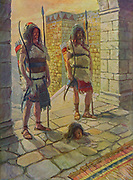 """RECHAB AND BAANAH BRING THE HEAD OF ISH-BOSHETH. II Samuel iv. 8.<br /> """"And they brought the head of Ish-bosheth unto David to Hebron, and said to the king, Behold the head of Ish-bosheth the son of Saul thine enemy, which sought thy life; and the Lorp hath avenged my lord the king this day of Saul, and of his seed. From the book ' The Old Testament : three hundred and ninety-six compositions illustrating the Old Testament ' Part II by J. James Tissot Published by M. de Brunoff in Paris, London and New York in 1904"""