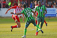 Andy Barcham of AFC Wimbledon challenges during the Sky Bet League 2 play-off second leg match between Accrington Stanley and AFC Wimbledon at the Fraser Eagle Stadium, Accrington, England on 18 May 2016. Photo by Pete Burns.