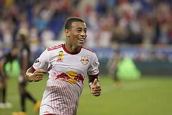 September 27, 2017 - Harrison, New Jersey, United States - Tyler Adams (4) of Red Bulls celebrates scoring 2nd goal during regular MLS game against DC United at Red Bull Arena Game ended in draw 3 - 3  (Credit Image: © Lev Radin/Pacific Press via ZUMA Wire)