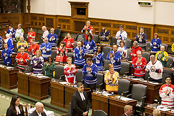 April 12, 2018 - Toronto, ON, Canada - TORONTO, ON - APRIL 12  -   .Members of Provincial Parliament all wearing jerseys to remember the Humboldt Broncos. .Thousands of Canadians have pledged online to take part in the so-called Jersey Day, which encourages people to wear a sports jersey, hockey or otherwise to remember Humboldt Broncos players and staff..April 12, 2018. Carlos Osorio/Toronto Star (Credit Image: © Carlos Osorio/The Toronto Star via ZUMA Wire)