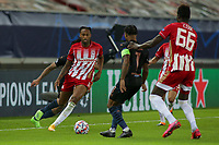 PIRAEUS, GREECE - NOVEMBER 25: Rúben Semedo of Olympiacos FC attacks during the UEFA Champions League Group C stage match between Olympiacos FC and Manchester City at Karaiskakis Stadium on November 25, 2020 in Piraeus, Greece. (Photo by MB Media)