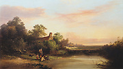 English landscape with cottage and stream. By EC Williams, British Painter. Oil on canvas, 1860
