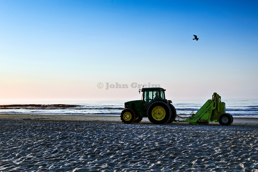 Beach cleaning, New Jersey, USA