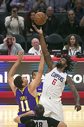 November 27, 2017 - Los Angeles, California, U.S - DeAndre Jordan #6 of the Los Angeles Clippers and Brook Lopez #11 of the Los Angeles Lakers battle for the ball at the start of during their game on Monday November 27, 2017 at the Staples Center in Los Angeles, California. Clippers defeat Lakers 120-115. (Credit Image: © Prensa Internacional via ZUMA Wire)