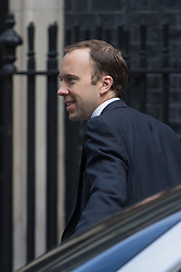 Paymaster General Matt Hancock arrives at Prime Minister David Cameron's final cabinet meeting following Theresa May's anticipated takeover as Leader of the Conservative Party and Prime Minister