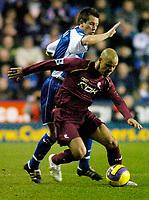 Photo: Gareth Davies.<br />Reading v Bolton Wanderers. The Barclays Premiership. 02/12/2006.<br />Bolton's Stelios Giannakopoulas (R) gets past his man.