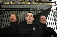 Photo: Paul Thomas.<br /> Photography of Norwegian Liverpool supporters at Anfield. 04/03/2007.<br /> <br /> Norwegian Liverpool supporters Andre Oien, Einar Kvande (R) and Per Arild Soly (L).