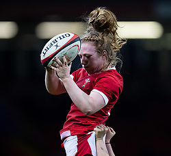 Abbie Fleming of Wales claims the lineout<br /> <br /> Photographer Simon King/Replay Images<br /> <br /> Friendly - Wales v Barbarians - Saturday 30th November 2019 - Principality Stadium - Cardiff<br /> <br /> World Copyright © Replay Images . All rights reserved. info@replayimages.co.uk - http://replayimages.co.uk