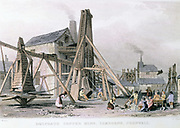Dalcoath copper mine, Cambourne, Cornwall (later also tin), showing engine houses and 'Bolling Maidens' who broke ore into small pieces. Engraving c1830.