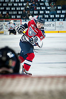 KELOWNA, CANADA - MARCH 27: Parker Wotherspoon #37 of Tri-City Americans warms up with a shot on net against the Kelowna Rockets on March 27, 2015 at Prospera Place in Kelowna, British Columbia, Canada.  (Photo by Marissa Baecker/Getty Images)  *** Local Caption *** Parker Wotherspoon;