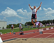 Chris Boyles of the United States (196) gets some air on his long jump of 7.42 meters, at the Nike Combined Events Challenge at the R.V. Christian Track Complex on the campus of Kansas State University in Manhattan, Kansas, August 5, 2006.
