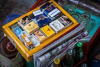 HANOI, VIETNAM - CIRCA SEPTEMBER 2014:  Cigarette vending on  street of the Old Quarter in  Hanoi, Vietnam.