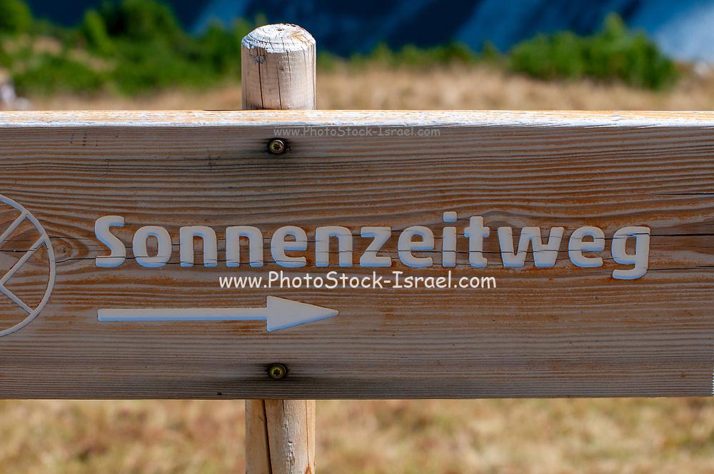 sonnenzeitweg, pointing to the sun dial on Mount Elfer, Stubaital, Tyrol, Austria