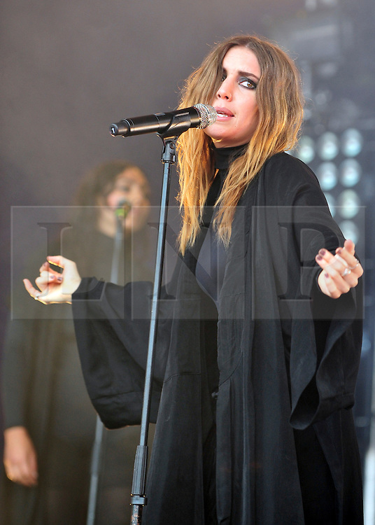 © licensed to London News Pictures. LONDON UK  17/07/11.Lykke Li  performs at the Lovebox Festival in Victoria Park East London which saw thousands of music fans persevere through the frequent heavy showers  . Please see special instructions for usage rates. Photo credit should read ALAN ROXBOROUGH/LNP