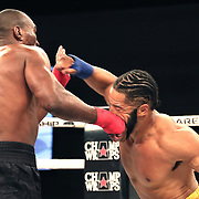 FORT LAUDERDALE, FL - FEBRUARY 15: Gustavo Trujillo knocks out Lorenzo Hunt during the Bare Knuckle Fighting Championships at Greater Fort Lauderdale Convention Center on February 15, 2020 in Fort Lauderdale, Florida. (Photo by Alex Menendez/Getty Images) *** Local Caption *** Lorenzo Hunt; Gustavo Trujillo