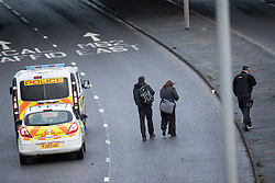 © Licensed to London News Pictures. 03/01/2017. Huddersfield, UK. Police at the scene of a bullet riddled white Audi car at the slip road at Junction 24 of the M62 motorway in Huddersfield . West Yorkshire police have announced a man has died following the discharge of a police firearm , during what they describe as a pre-planned operation , yesterday evening (2nd January 2017) . Photo credit : Joel Goodman/LNP