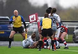 Cat McNaney of Bristol Ladies scores a try - Mandatory by-line: Paul Knight/JMP - 30/03/2018 - RUGBY - Shaftsbury Park - Bristol, England - Bristol Ladies v Saracens Women - Tyrrells Premier 15s