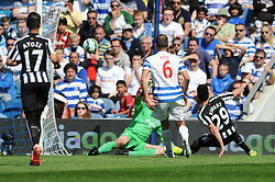 Newcastle United's Emmanuel Riviere scores to make it 0-1 - Photo mandatory by-line: Dougie Allward/JMP - Mobile: 07966 386802 - 16/05/2015 - SPORT - football - London - Loftus Road - QPR v Newcastle United - Barclays Premier League