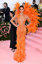 "Kendall Jenner at the 2019 Costume Institute Benefit Gala celebrating the opening of ""Camp: Notes on Fashion"".<br />