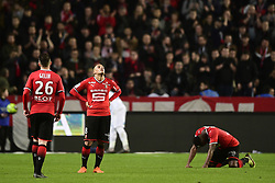 March 10, 2018 - Rennes, France, France - satisfaction des joueurs de Rennes en fin de match KHAZRI Wahbi  (Credit Image: © Panoramic via ZUMA Press)