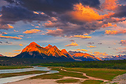 Canadian Rocky Mountains and Abraham Lake at sunrise.<br />Along the David Thompson Highway<br />Alberta<br />Canada