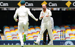 Australia's Nathan Lyon celebrates with team mates after dismissing England's Moeen Ali during day two of the Ashes Test match at The Gabba, Brisbane.