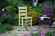 63821-10716 Yellow & Purple Chair, Butterfly House, & hat in flower garden  Marion Co. IL