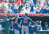 The Cubs' Anthony Rizzo is greeted in the dugout after his home run against the Angels during their preseason game at Angel Stadium Sunday.<br /> <br /> <br /> ///ADDITIONAL INFO:   <br /> <br /> angels.0404.kjs  ---  Photo by KEVIN SULLIVAN / Orange County Register  --  4/3/16<br /> <br /> The Los Angeles Angels take on the Chicago Cubs at Angel Stadium during a preseason game at Angel Stadium Sunday.<br /> <br /> <br />  4/3/16