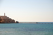Israel, Jaffa, as seen from north the entrance to the port and Andromeda rock on the right