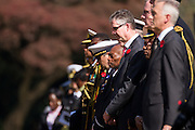 The Canadian Ambassador to Japan, Ian Burney (centre) takes part in a ceremony for Remembrance Sunday at the Commonwealth War Graves Cemetery in Hodogaya, Yokohama, Japan. Sunday November 13th 2016. Each year representatives of the Commonwealth nations, along with American and other European nations that lost servicemen fighting the Japanese in World War 2, hold a multi-faith service of remembrance at this cemetery. This is the only cemetery for war dead in japan that is managed by the Commonwealth War Graves Commission.