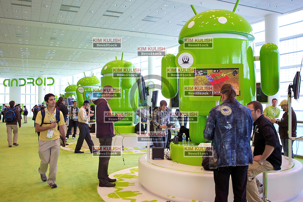 Over 5000 computer software and hardware developers attend the annual  Google I/O conference in San Francisco, California.
