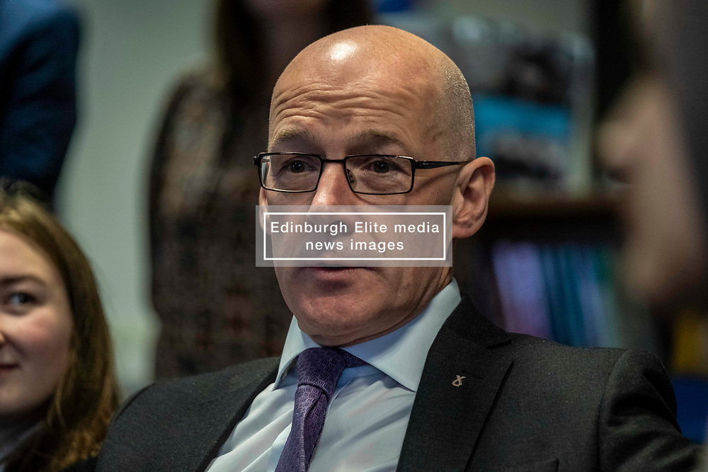 Pictured: John Swinney<br /><br />The Deputy First Minister and Education Secretary visited the Royal High School in Edinburgh today and met students and staff to learn about a school library project aimed at tackling mental health issues.<br /><br />Ger Harley   EEm 10 October 2019