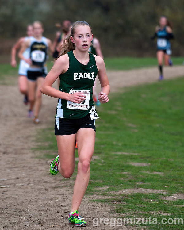 Eagle sophomore Dania Holmberg on the second loop of the Idaho High School Cross Country State Championships 5A girls race on November 1, 2014 at Eagle Island State Park, Eagle, Idaho.. Holmberg placed ninth 19:12.3.