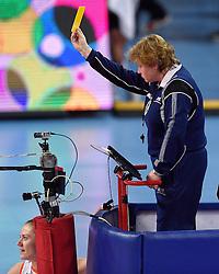 04-01-2016 TUR: European Olympic Qualification Tournament Nederland - Duitsland, Ankara <br /> De Nederlandse volleybalvrouwen hebben de eerste wedstrijd van het olympisch kwalificatietoernooi in Ankara niet kunnen winnen. Duitsland was met 3-2 te sterk (28-26, 22-25, 22-25, 25-20, 11-15) / Scheidsrechter geeft Coach Giovanni Guidetti de gele kaart. Maret Balkestein-Grothues #6
