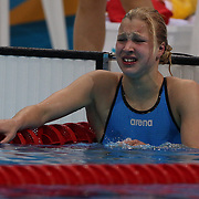 Ruta Meilytyte, Lithuania, crying after winning her heat in the Women's 100m Breastroke heats during the swimming heats at the Aquatic Centre at Olympic Park, Stratford during the London 2012 Olympic games. London, UK. 29th July 2012. Photo Tim Clayton