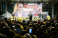POMIGLIANO D'ARCO, ITALY - 6 MARCH 2018: Luigi Di Maio, leader of the Five Star Movement, who returned to his his hometown to celebrate the movement's victory in the 2018 Italian General Elections, gives a speech in front of his supporters and  fellow citizens in Pomigliano D'Arco, Italy, on March 6th 2018.<br /> <br /> The Five-Star Movement, became the first party in Italy, with 33 percent of the vote.
