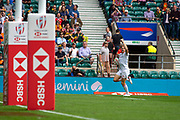 Twickenham, United Kingdom 25th May 2019 HSBC London Sevens, Englands, James RODWELL, raises his arm, as he run's in for a try,  during the pool C game England vs Ireland, played at  the  RFU Stadium, Twickenham, England, <br /> © Peter SPURRIER: Intersport Images<br /> <br /> 12:18:55 25.05.19