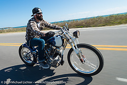 Nate Jacobs of Harlot Cycles in Illinois out for a ride on his custom Biker Build-Off Shovelhead during Daytona Bike Week. FL, USA. March 14, 2014.  Photography ©2014 Michael Lichter.