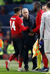 Manchester United's Romelu Lukaku comes on for Jesse Lingard (left) during the UEFA Champions League, Group H match at Old Trafford, Manchester. PRESS ASSOCIATION Photo. Picture date: Tuesday November 27, 2018. See PA story SOCCER Man Utd. Photo credit should read: Martin Rickett/PA Wire.
