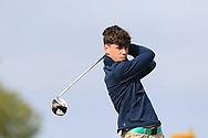Matthew O'Brien (Elm Park) on the 1st tee during Round 2 of the Connacht U16 Boys Amateur Open Championship at Galway Bay Golf Club, Oranmore, Galway on Wednesday 17th April 2019.<br /> Picture:  Thos Caffrey / www.golffile.ie