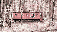 Red Caboose in a Driftless Wood. Photo taken October 28, 2019.
