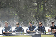 Putney, London, Oxford UBC right to left: Martin WALSH, Tyler WINKLEVOSS, Cameron WINKLEVOSS, Sjoerd HAMBURGER,  OUBC afternoon training session on the River Thames. Varsity, University Boat Race, Tideway Week, Tuesday  30/03/2010 [Mandatory Credit Peter Spurrier/ Intersport Images]..OUBC crew, Bow - Ben MYERS, Martin WALSH, Tyler WINKLEVOSS, Cameron WINKLEVOSS, Sjoerd HAMBURGER, Matt EVANS, Simon GAWLIK, Stroke - Charlie BURKITT and Cox - Adam BARHAMAND
