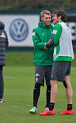 28.03.2014, Trainingsgelaende, Bremen, GER, 1. FBL, Werder Bremen, Training, im Bild Aaron Hunt (Bremen #14) lachend mit Santiago Garcia (SV Werder Bremen #2) // Aaron Hunt (Bremen #14) lachend mit Santiago Garcia (SV Werder Bremen #2) during a Trainingssession of German Bundesliga Club SV Werder Bremen at the Trainingsgelaende in Bremen, Germany on 2014/03/28. EXPA Pictures © 2014, PhotoCredit: EXPA/ Andreas Gumz<br /> <br /> *****ATTENTION - OUT of GER*****
